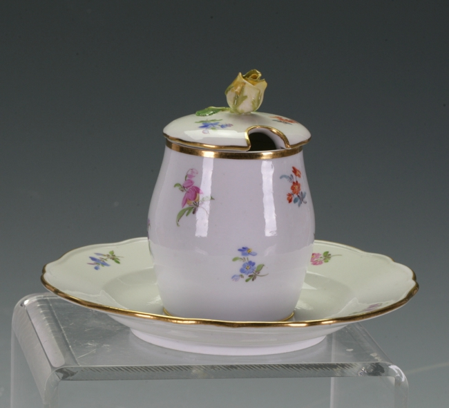 Meissen Covered Sugar Bowl attached to saucer
