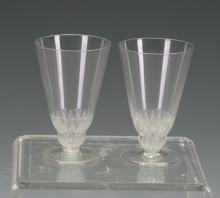 Rene Lalique pair liqueur Glasses