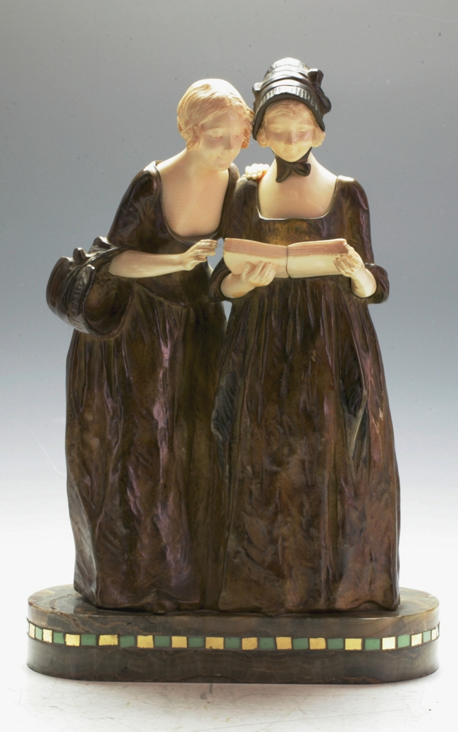 A large Bronze & Ivory group