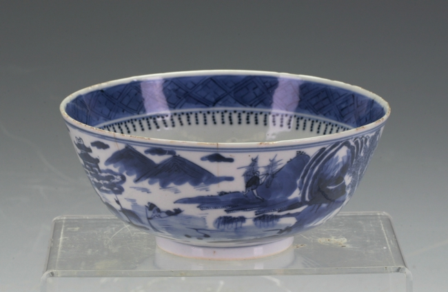 A vintage blue and white bowl