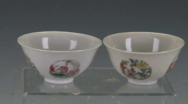 A pair of porcelain tea bowls