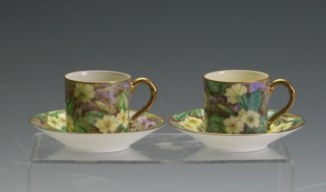 A pair of Royal Worcester Demitasse coffee cans
