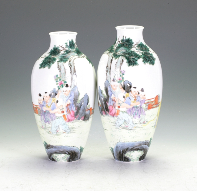 Two polychrome Vases