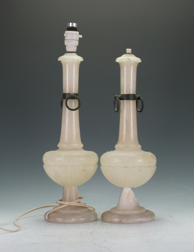Pair of Alabaster Lamp Bases