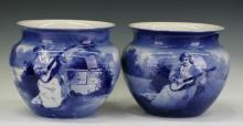 Pair of Large Royal Doulton blue and white pots