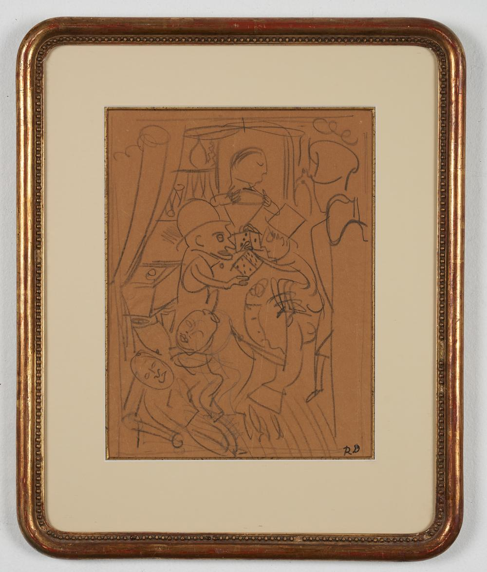 Raoul Dufy,French (1877-1953) Gamblers, Pencil drawing on sepia artist's paper