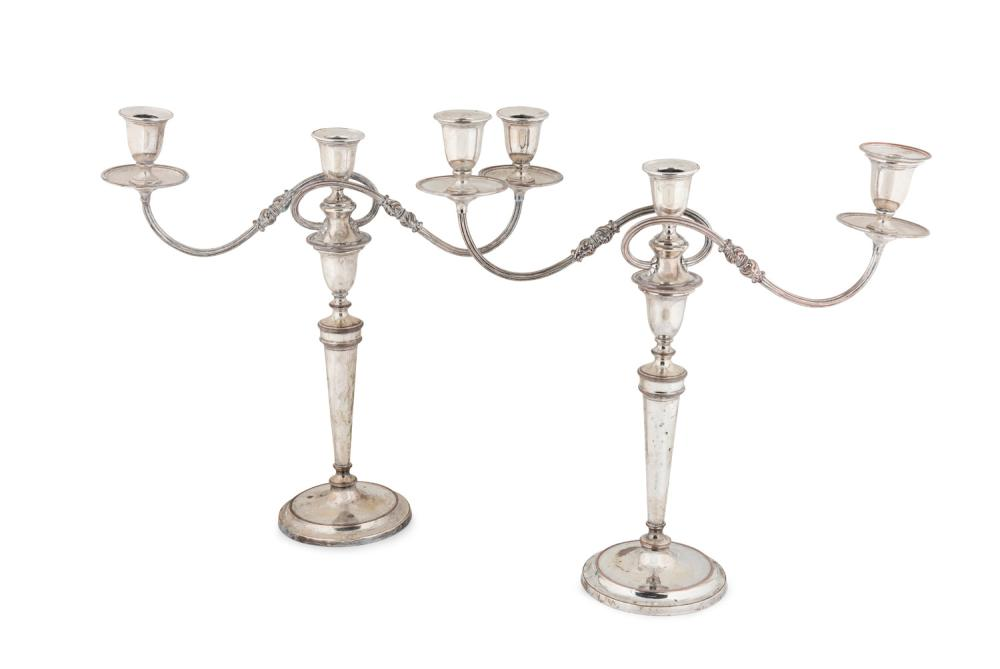A pair of late George III Sheffield-plate twin branch candelabrum,English, circa 1800