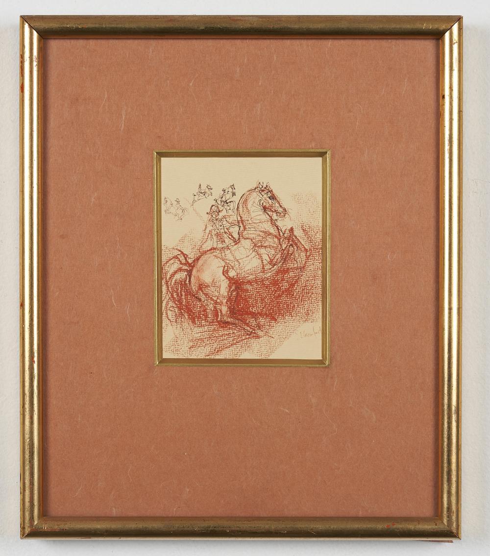 Susan Crawford, Scottish (born 1941) British sepia drawing of a Lippizaner horse,