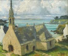"""Edouard PLANCHAIS (1909-1995) """"Chapelle Saint Jean à Tréboul, Douarnenez"""" huile sur toile signée en"""