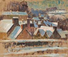 """Jean-Louis LE TOULLEC (1908-1999) """"Maisons"""" deux esquisses - huile sur carton encollée sur panneau d"""
