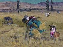 Lewis Rubenstein (American, b. 1908) Gleaners. Oil