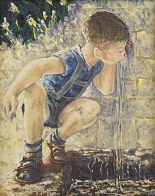 Noel Daggett (American, 1925-2000) Boy sipping