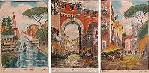 Bela Sziklay (Hungarian active 20th Century) Three European views etchings with watercolor signed in the plates. Overmat has pencil writing in