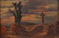 Antoni (Antonio) Ribas Prats (Spanish, 1883-1931) Desert landscape with cactus and cross. A heavy imposto, palete knife with brush work painting on