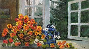 Mark Kremer (Russian, b. 1928) Flowers by an open