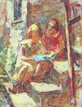 Jesse DeViney (American, 1883-1941): Two Girls on