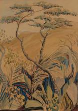Edith King, Hillside landscape with tree