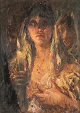 CLEMENTE TAFURI (Salerno 1903-Genova 1971) |DONNA VELATA CON CANDELA