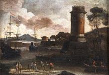 FLORENCE SCHOOL OF THE 18TH CENTURY VEDUTA PORTUALE CON TORRE  SEASCAPEFLORENCE SCHOOL OF THE 18TH CENTURY