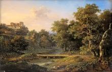 18TH CENTURY PAINTER PAESAGGIO FLUVIALE  RIVER LANDSCAPE18TH CENTURY PAINTER