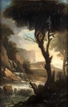 PAINTER OF THE 17TH CENTURY PAESAGGIO FLUVIALE  RIVER LANDSCAPEPAINTER OF THE 17TH CENTURY