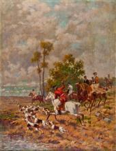PAINTER OF 19/ 20 CENTURY LA CACCIA ALLA VOLPE THE FOX HUNTING