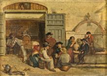 SPANISH PAINTER OF THE 19th CENTURY LA STALLA THE STABLE