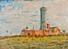 PAINTER OF THE 20TH CENTURY VEDUTA DI FARO LIGHTHOUSE
