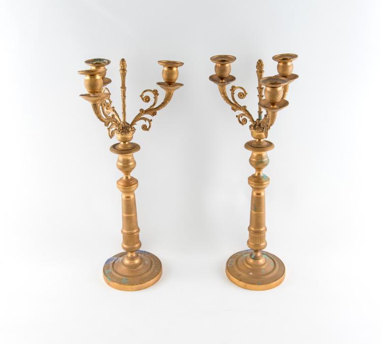 Coppia di candelabri Carlo X, XIX secolo. | Pair of candlesticks Charles X. XIX Century