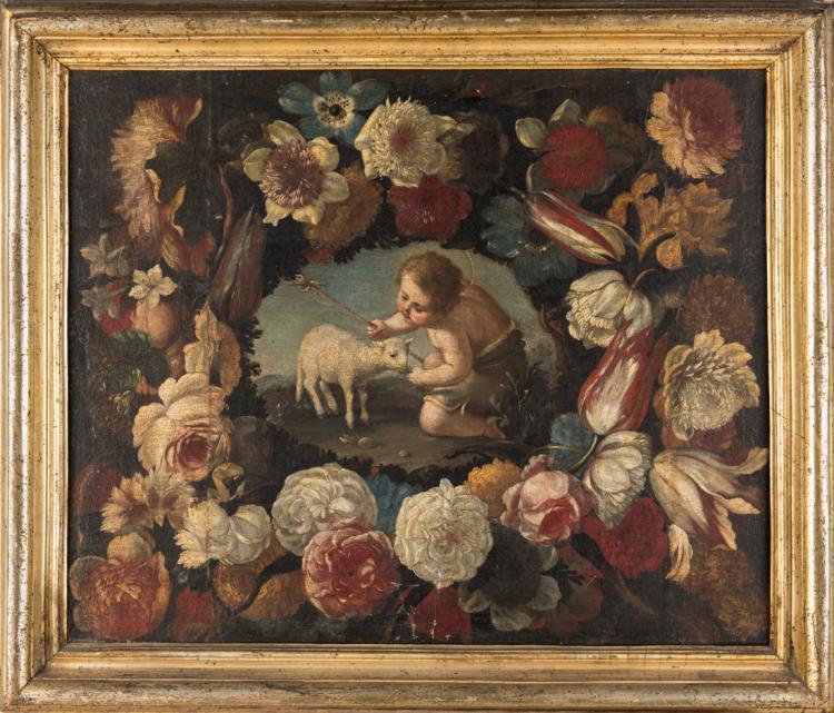 SCUOLA NAPOLETANA XVII SECOLO San Giovannino tra i fiori. | St. John among the flowers