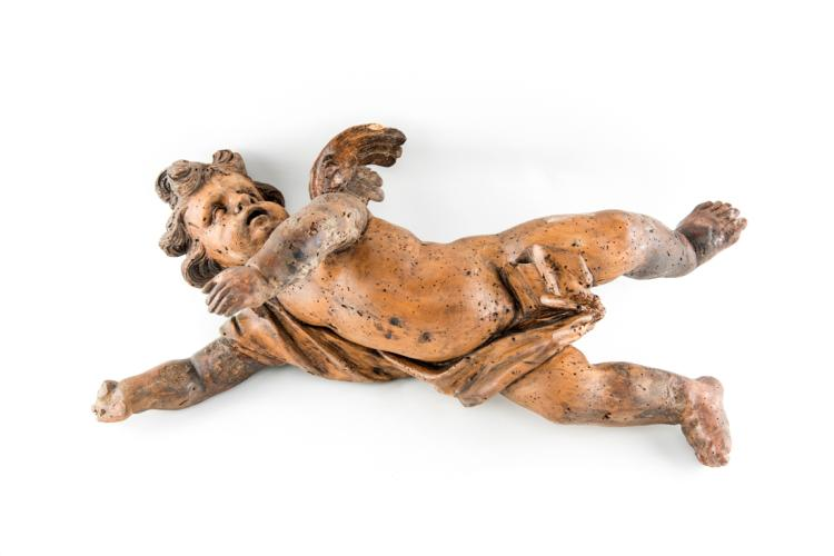 Bel putto in legno intagliato, XVII secolo. | Beautiful carved wood Putto, Seventeenth Century.