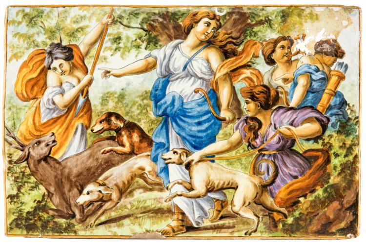 Diana Cacciatrice, mattonella in maiolica. | Diana the Huntress, majolica tile