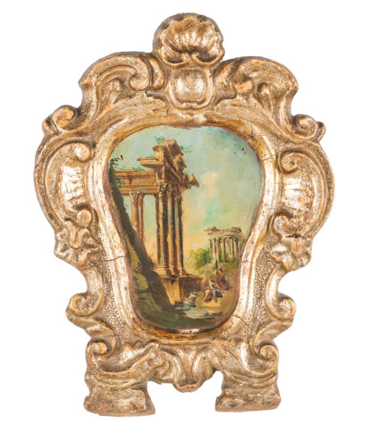Cartagloria in legno intagliato e dorato del XVIII secolo. | Carved and gilded wooden Cartagloria XVIII Century.