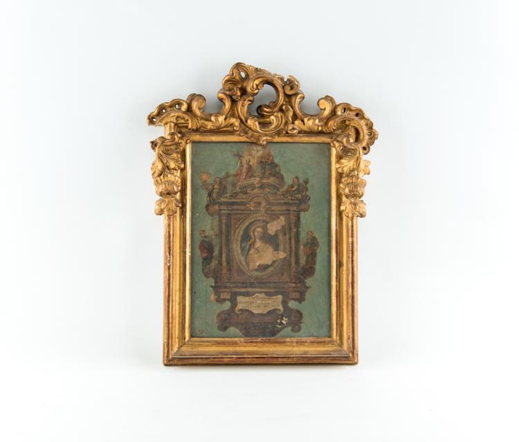 Cornice in legno dorato con cimasa intagliata, inizi del XIX secolo. | Gilded wooden frame, the early XIX Century.