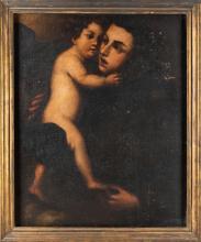 SCUOLA NAPOLETANA XVII SECOLO Sant'Antonio con Bambino.   St. Anthony od Padua with Child.