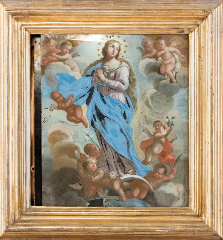 PITTORE NAPOLETANO DEL XVIII SECOLO Assunzione della Vergine Maria. | Assumption of the Virgin Mary.