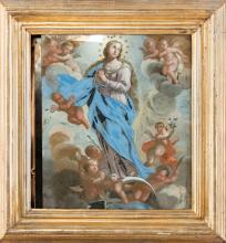 PITTORE NAPOLETANO DEL XVIII SECOLO Assunzione della Vergine Maria.   Assumption of the Virgin Mary.