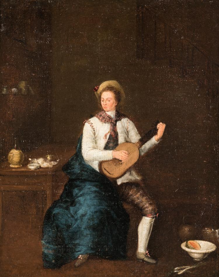 PITTORE DEL XVIII SECOLO Suonatore di chitarra. | Musician