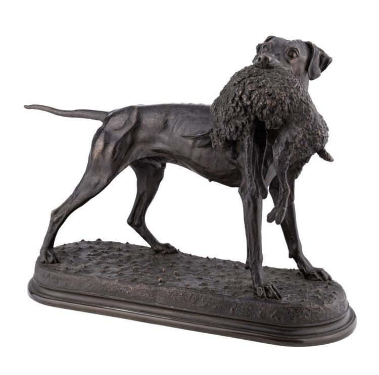 JULES MOIGNIEZ   SENLIS 1835-SAINT-MARTIN-DU-TERTRE 1934  Cane Pointer con lepre   Pointer dog with hare