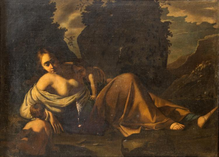 PITTORE CARAVAGGESCO Eva con Caino e Abele. | Eve with Cain and Abel.