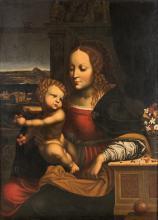 MAESTRO LOMBARDO DELLA FINE DEL XVI SECOLO Madonna delle Ciliegie.   Madonna of the Cherries.