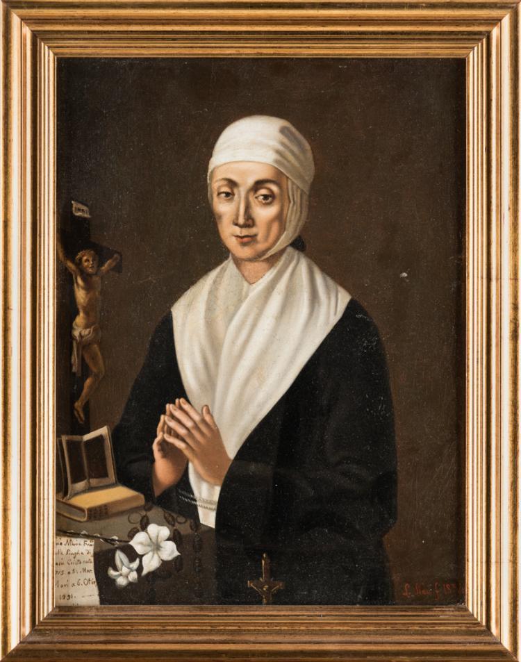 PITTORE NAPOLETANO, XIX SECOLO Santa Maria Francesca delle Piaghe. | Santa Maria Francesca of the Plagues.