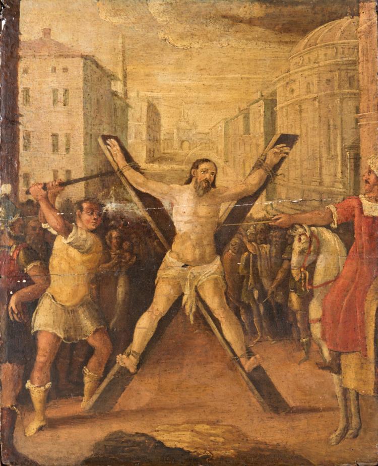 PITTORE FINE DEL XVII SECOLO La Crocefissione di Sant'Andrea. | The Crucifixion of St. Andrew.