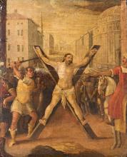 PITTORE FINE DEL XVII SECOLO La Crocefissione di Sant'Andrea.   The Crucifixion of St. Andrew.