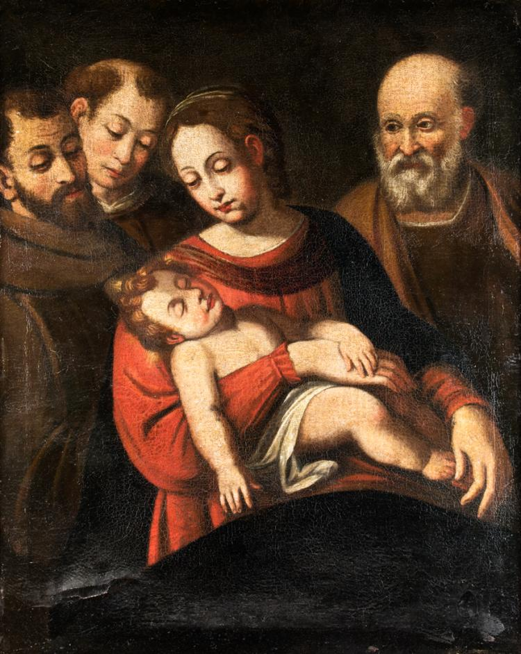 PITTORE DEL XVIII SECOLO Madonna con Bambino e Santi. | Madonna and Child with Saints.
