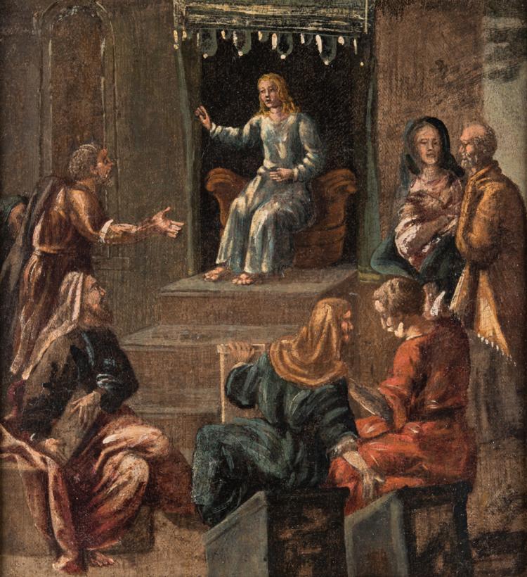 PITTORE DEL XVIII SECOLO La Predica nel Tempio. | Preaching in the Temple.