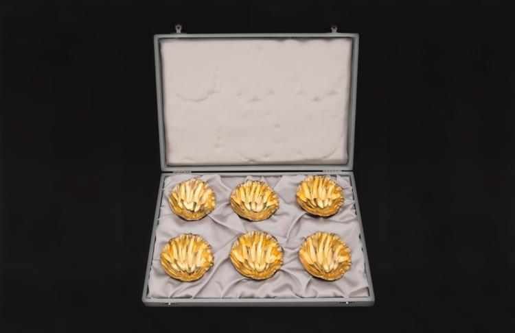 Lotto di sei conchiglie in argento vermeille | Lot of six shells in vermeille silver.