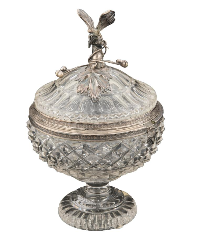 Compostiera con montatura e cucchiaio in argento, di manifattura tedesca | Silver sugar bowl, crystal hipe. and silver spoon, Germany