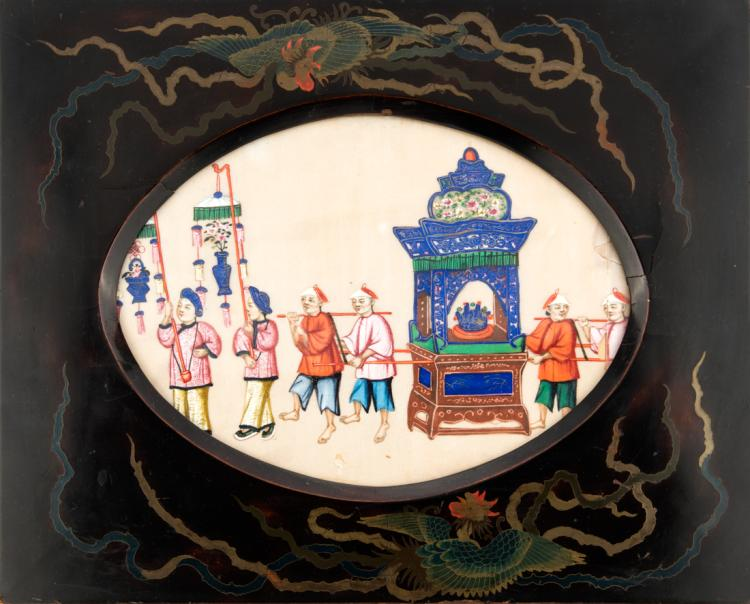 Pannello orientale dipinto su carta di riso entro cornice ovale | Eastern panel painting on rice paper in an oval frame