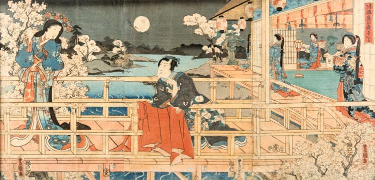 Scene di vita orientale, stampe acquerellate. | Oriental scenes, watercolor prints.